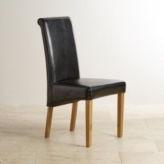Scroll Back Black Leather Chair with Solid Oak Legs – Goodglance