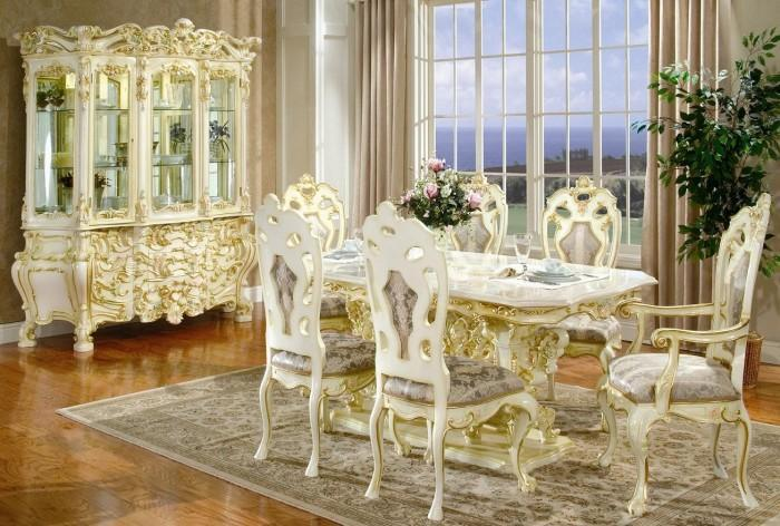 white and gold Victorian dining room design
