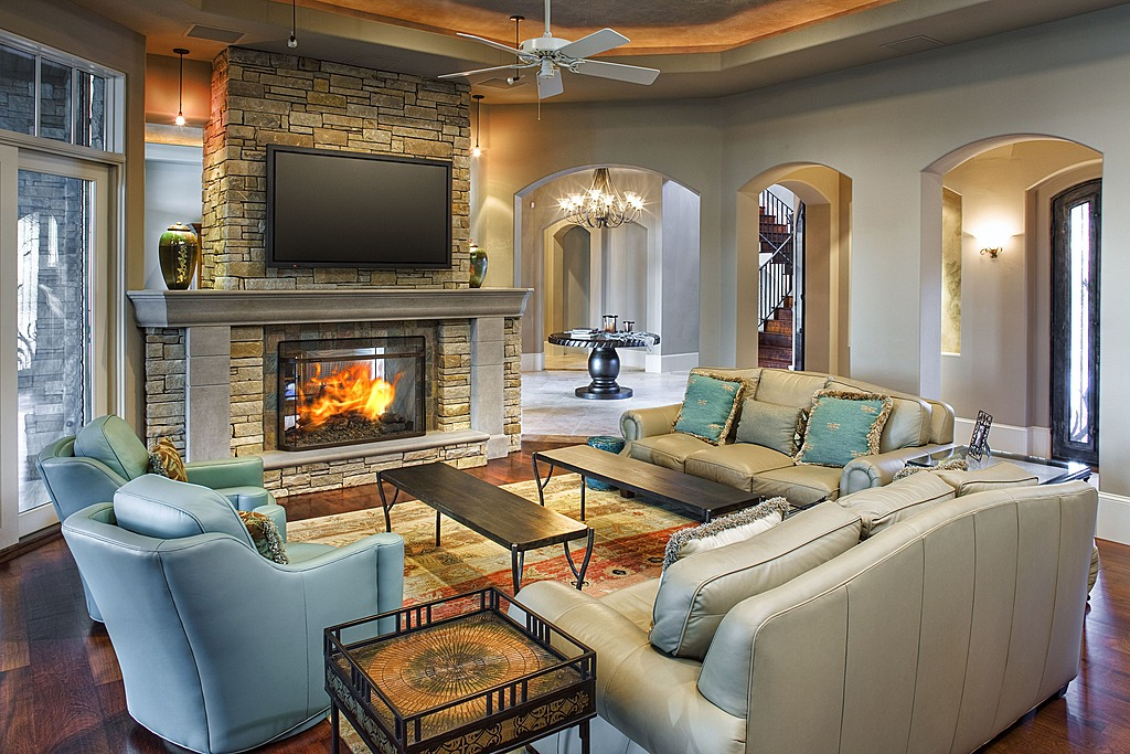 aqua blue land white living room