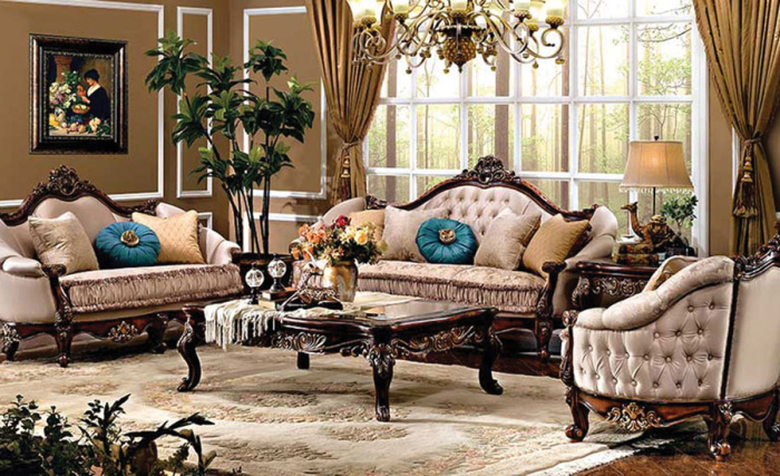 Modern Brown Victorian Style Sofa This Living Room