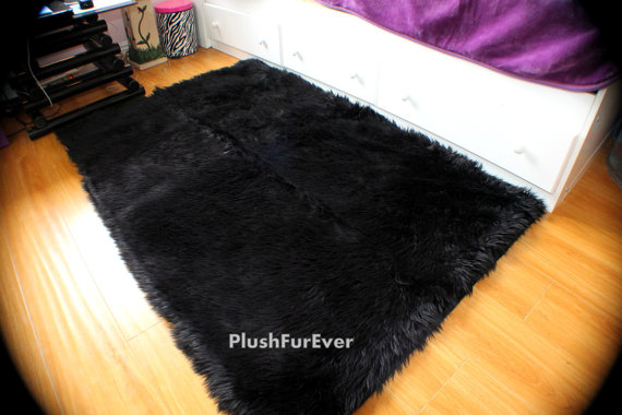 Faux Sheepskin Area Rug Black