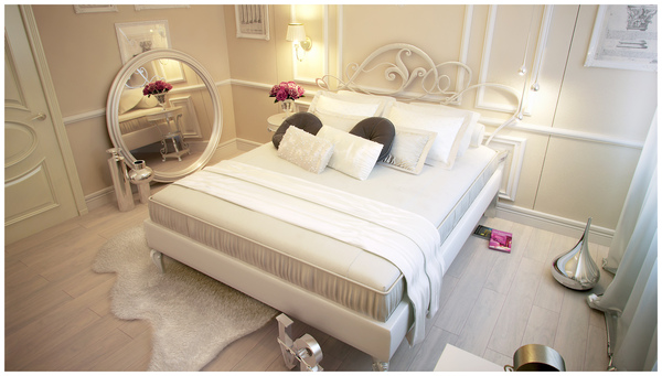 beige and white bedroom
