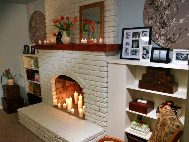 Outdated Brick Fireplace