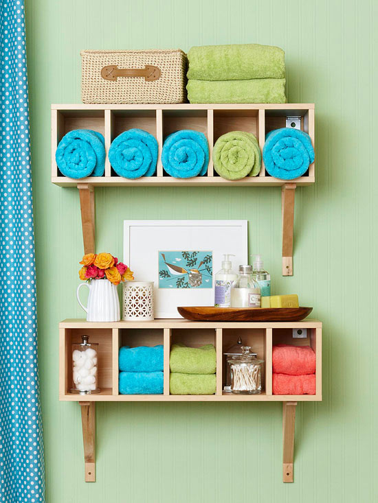green tiny bathroom with shelving
