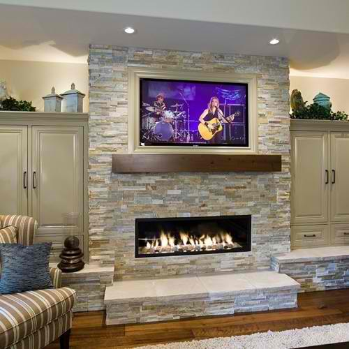 White Limestone with Tv Above