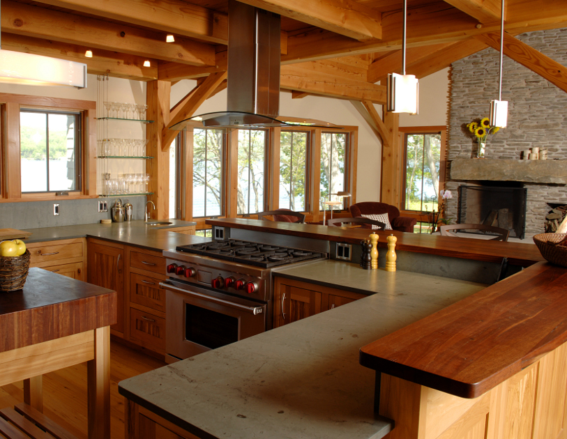Sharp Wood and Slate Countertops