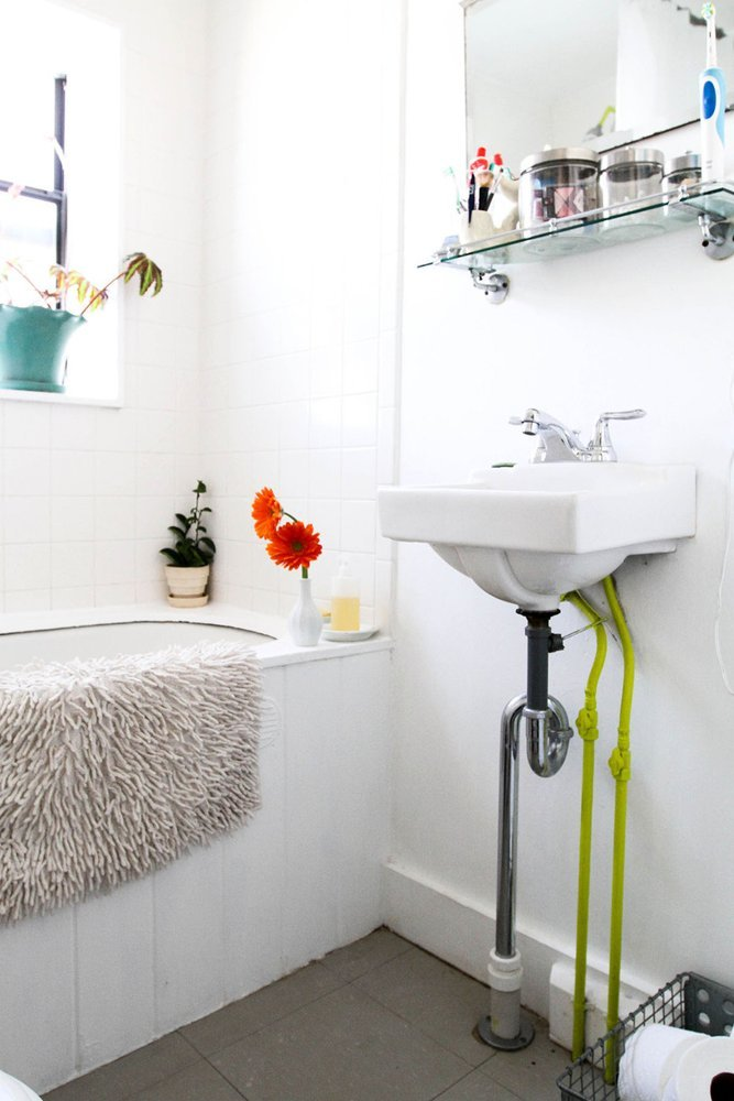 Super White Bathroom with Dark Gray Floor