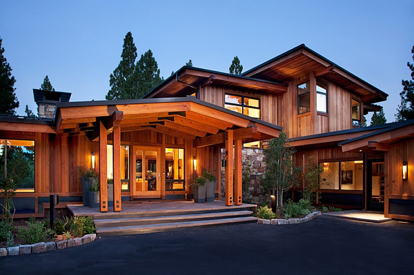 the striking wooden house looks cool and comfortable