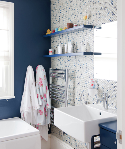 Dark blue bathroom, mosaic tiled feature wall