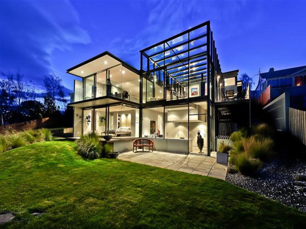panorama house design with grass view from outside