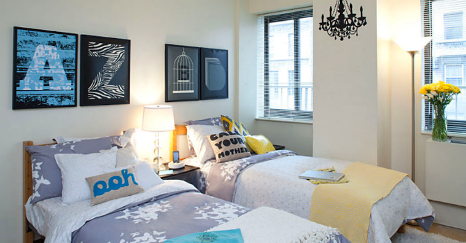 College apartment bedroom layout Bedroom furniture for college students