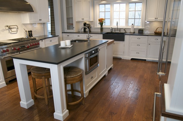 black slate countertops with slate farmhouse-style sink