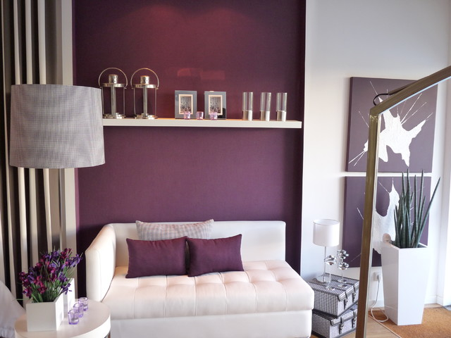 Living room with purple accent colour