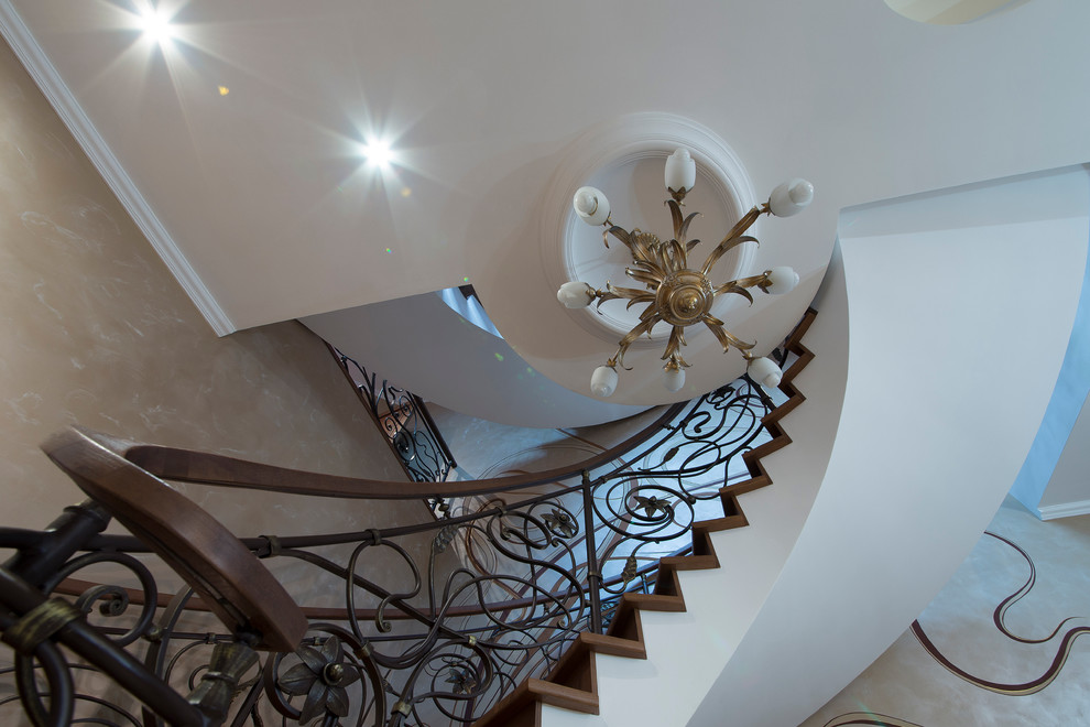 Spiral staircase with a railing