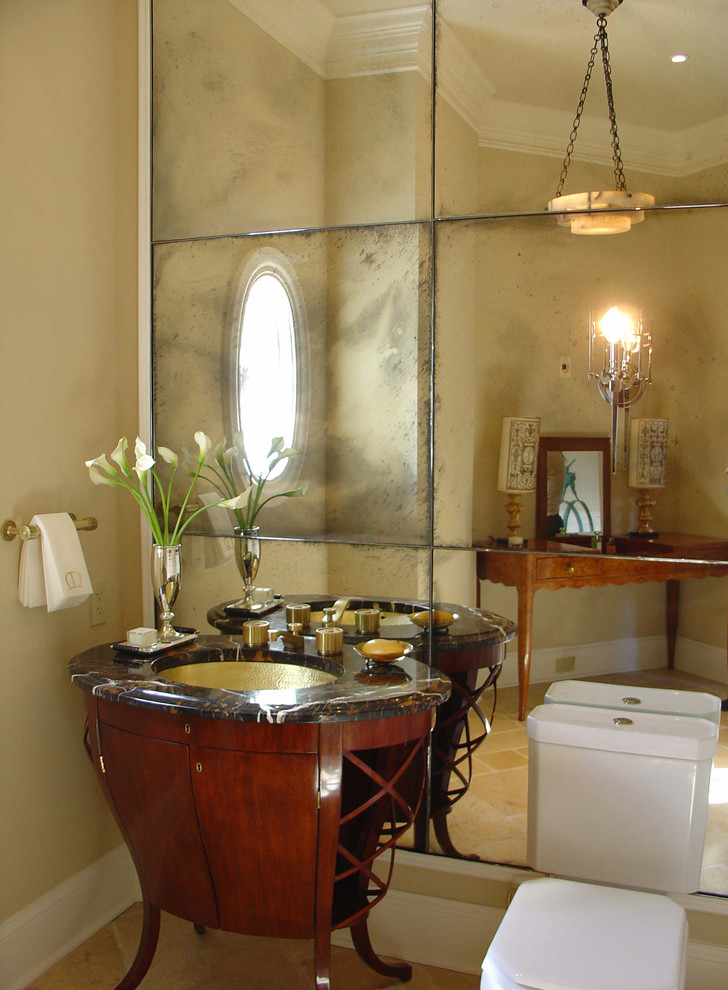 Powder Room With Antique Mirror Tile Design