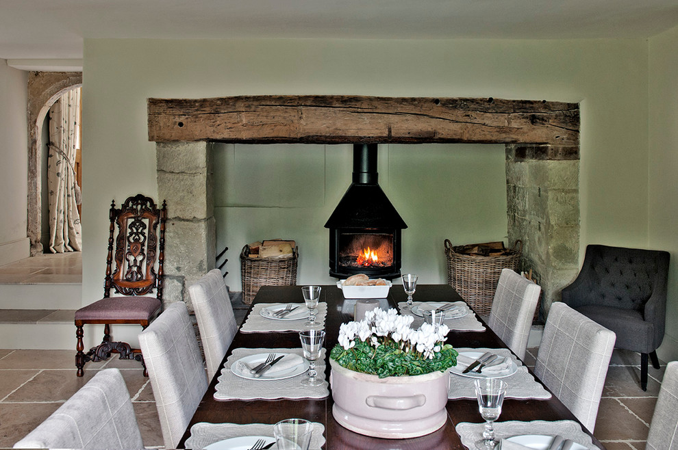 Chimney styled fireplace setting for the dining room