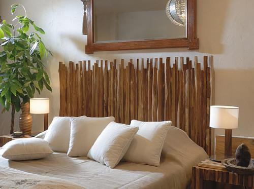 Simple headboard with planks of wood