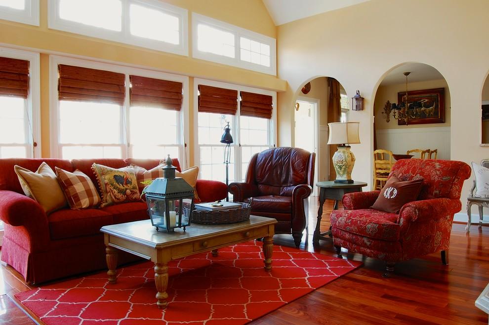 Burnt red living room