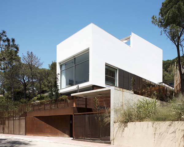 White and wooden house structure