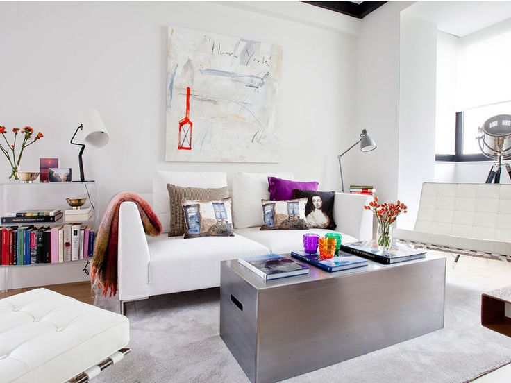 Industrial style is softened by bright colours