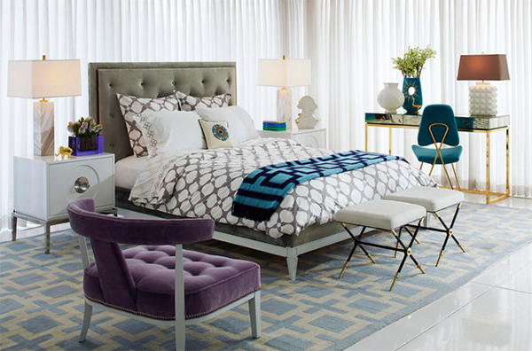Bold geometric bedding with clean lines