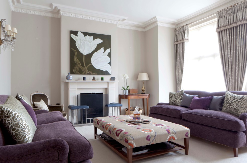 Living Room With Purple Sofa Furniture
