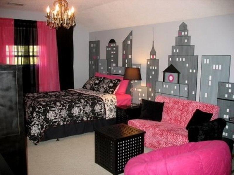 Pink and black bedroom design