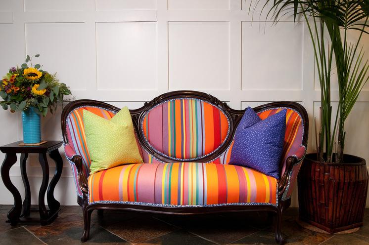 Colorful striped sofa