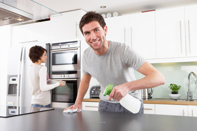 cleaning kitchen countertops