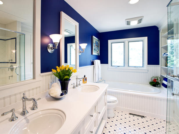 blue and white tile floor