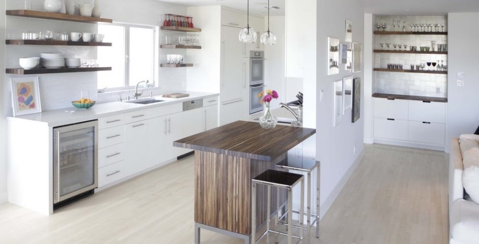 White with Wooden kitchen Island